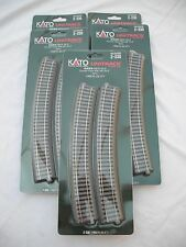 "Lot of 5 Kato 2-230 R670-22.5 Curved R26 3/8"" UniTrack Track Sections, HO Scale"