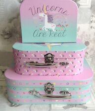 Shabby Chic Vintage Set 3 casos de almacenamiento de memoria Cajas Cajas Unicornio Baby Shower