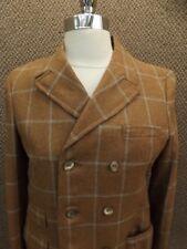 Vtg 50s Brown Wool Plaid Dbl Breast Bond Clothes Blazer Jacket Jr 15 School Girl