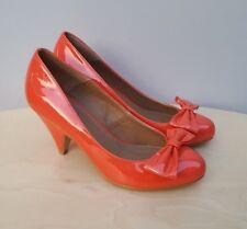 New CARVELA Ladies Patent Bow Heels Shoes Coral__UK 3 / EUR 36