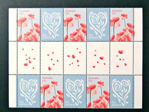 Australian Decimal Stamps: 2009 With Love - Heart & Heart Flowers Gutter MNH