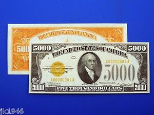 Fantasy $5000 1934 Gold Certificate US Paper Money Currency Never Issued Copy