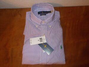 Ralph Lauren Purple White Striped Classic Fit 100% Cotton Stretch Shirt Sz Med