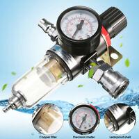 1/4''Air Compressor Filter Water Separator TrapTools Kit With Regulator Gauge EP