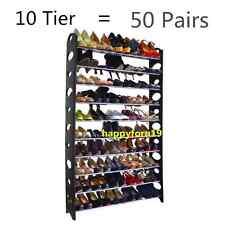 50 Pair Free Standing 10 Tier Shoe Tower Rack Chrome Metal Shoe Rack US Shipping