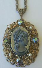 Western Germany Victorian Style Costume Jewelry Necklace Broach Pendant 24""
