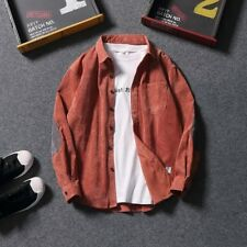Men's Lapel Collar Corduroy Cardigan Shirts Vintage Jacket Coat Leisure Outwear
