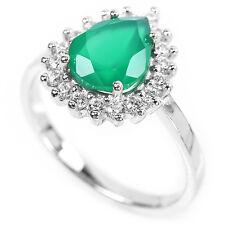 Argento Sterling 925 genuino naturale ricco anello di avventurina verde Dimensione N US 6.75