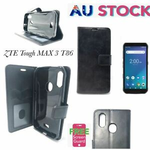 Telstra Tough Max 3 T86 Card Slot  Holder Leather Wallet Pouch Case -Black
