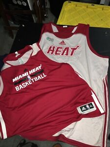 adidas NBA Practice Jersey Authentic Miami Heat Mens Sz 4 & 5 XL Reversible BNWO
