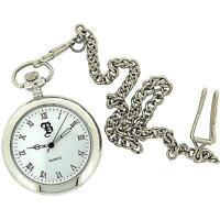 Boxx Silver Tone Open Roman Dial Pocket Watch 12 Inch Chain Boxx25