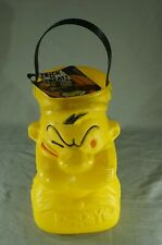 """1979 Popeye Plastic Halloween Candy Pail Mint With Original Card 10 1/2"""" Tall"""