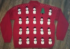 RED Ugly Christmas Sweater Snowman Christmas Tree XL Unbranded Homemade