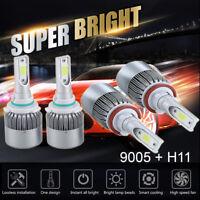 4PC 9005 H11 LED Total 2800W 420000LM Combo Headlight 6000K Cool White Kit Bulbs