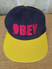 OBEY 6 Panel Mens Boy's Snapback Cap in Black, Yellow and Red