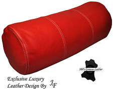 """EXCLUSIVE LUXURY GENUINE RED LEATHER ROUND CUSHION BOLSTER ROLL 9"""" x 24"""""""