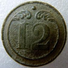 "Bouton 1° EMPIRE ""12"" Infanterie de Ligne ORIGINAL (Napoléon) relique 22 mm"