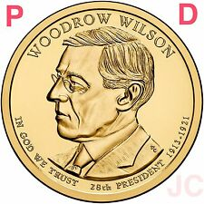 2013 P&D Woodrow Wilson Presidential Golden Dollar $BU from MINT Roll 2 Coin Set
