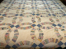 "Vintage Handmade Double Wedding Ring Quilt~88""x75"""