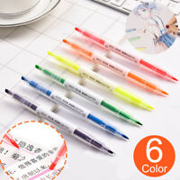 6 colors Double-Head Fluorescent Pen Highlighter Marker Pen Set Stationery