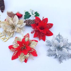 5PCS Christmas Poinsettia Glitter Flower  Hanging Xmas Party Tree Decoration NEW