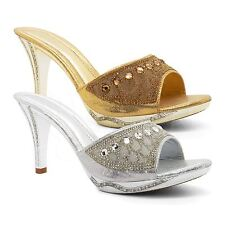 Womens Diamante Mid High Heel Bridal Sandals Ladies Evening Prom Wedding Size UK