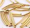 50/100Pcs Copper Silver Gold Smooth Curved Tube Spacer Beads Jewelry Makings DIY