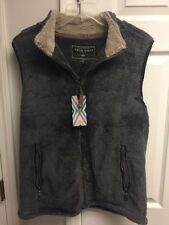 True Grit Mens Pebble Pile Double up Vest Harley Black Size Small NWT