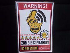 Funny A5 Feuilleté Signe Avertissement Zombie contagion ne pas saisir