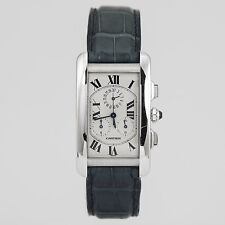 Cartier Tank Americaine Chronograph 18K White Gold Blue Alligator Strap W2312