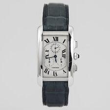Cartier Tank Americaine Chronograph 18K White Gold Blue Alligator Strap W2312