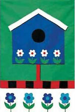 Toland House Flag Blue Birdhouse Flowers Applique Standard Size Garden