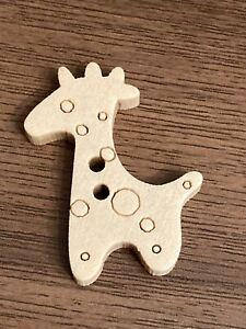 Wooden Giraffe Buttons 25mm x 20mm 6pcs