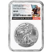 2020 $1 American Silver Eagle NGC MS69 FDI Black Label