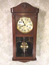 Vtg German Wall Clock (Hamburg American Clock Co) w/ Bim Bam Strike Leaded Glass