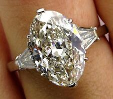 Certified 5.20Ct White Impressive Oval Cut Diamond Engagement Ring In 14K Gold