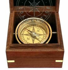 Vintage Brass Marine Gimbal Compass Wooden Box Stanley London Ship Boat Replica
