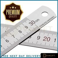 Double Sided Stainless Steel Metal Straight Ruler Precision Measuring Tool 30cm