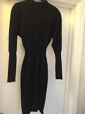 CIRCA 1984 AUTHENTIC AZZEDINE ALAIA BLACK SEXY L/S WOOL DRESS SIZE SM/ 6-8