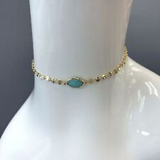 Trendy Unique Style Gold Finish Choker Single Stone Turquoise Necklace