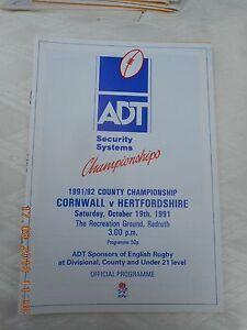 CORNWALL v HERTFORDSHIRE  19 OCTOBER 1991  REDRUTH  (COUNTY CHAMPIONSHIP)