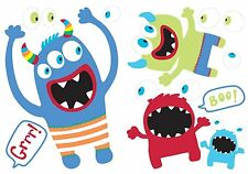 SCARY MONSTERS BiG Wall Decals Blue Green Red Boo Grrr Boys Room Decor Stickers
