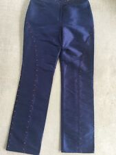 Gianni Versace Couture Silk Eve Blue Trousers Pink Swarovski Embroidery 44 It M