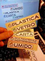 6 ADESIVI IN PVC DIFFERENZIATA BIDONI ESTERNO RACCOLTA SPAZZATURA PATTUMIERE