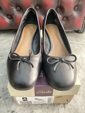 Clarks Cala Lucky Black Leather Low Heel Shoes, UK 4D