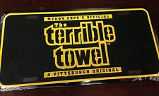 Pittsburgh Steelers Black Terrible Towel License Plate Metal Tag