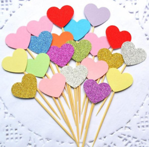 10 x Glitter HEARTS Cupcake Toppers Picks Decoration Birthday Party Cake Topper