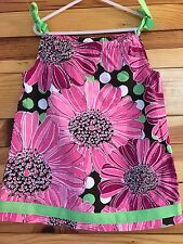 *HANNA ANDERSSON* Girls Brown Floral Ribbon Pillowcase Dress Size 90 2T-3T