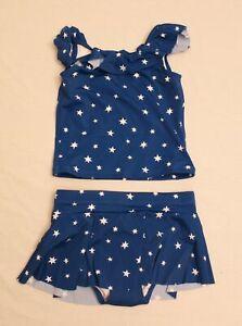Hanna Andersson Girl's Star Sunblock Tankini Set AH4 Blue/White US: 6-7 NWT $54