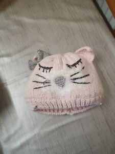 Pink knitted cat hat by matalan size 12-23 months